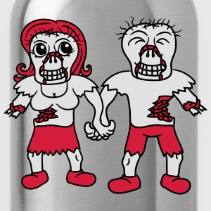 happy couple in love love couple woman man undead  T-Shirts - Water Bottle