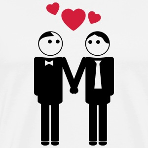 gay couple / couple in love hearts 2c Sweaters - Mannen Premium T-shirt