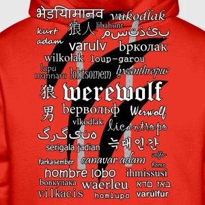 Werewolf in 33 Languages.png T-Shirts - Men's Premium Hoodie