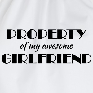 Property of my awesome girlfriend Long sleeve shirts - Drawstring Bag