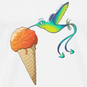 Summer Hummingbird Eating Ice Cream Bags & Backpacks - Men's Premium T-Shirt