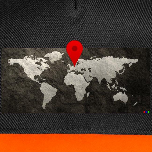 Weltkarte mit Pin - Standort