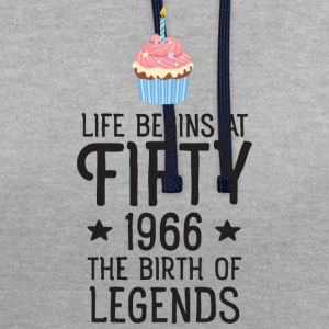 Life Begins AT Fifty...(Cupcake) T-shirts - Contrast hoodie