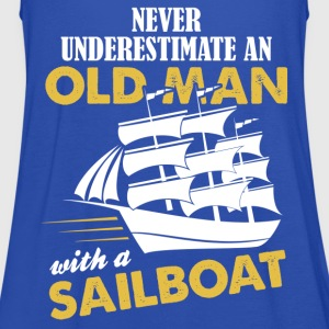 Never Underestimate An Old Man With A Sailboat T-Shirts - Women's Tank Top by Bella