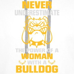 NEVER UNDERESTIMATE A WOMAN WITH A BULLDOG Tops - Men's Premium Hoodie