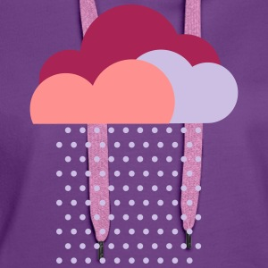 Purple clouds - colorful weather, rain, raindrops T-Shirts - Women's Premium Hoodie