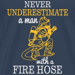 UNDERESTIMATE A MAN WITH NEM NEVER WATER HOSE Tops - Men's Premium T-Shirt