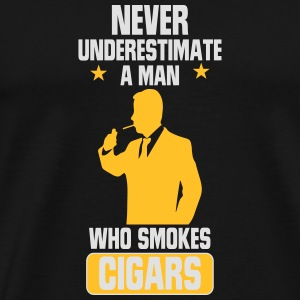 NEVER UNDERESTIMATE A MAN WITH A CIGAR Sports wear - Men's Premium T-Shirt