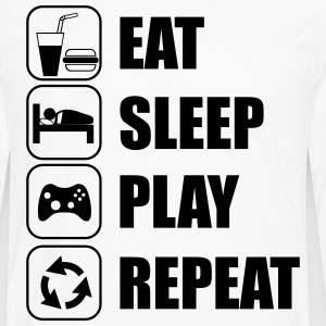 T-SHIRT GEEK,EAT,SLEEP,PLAY,REPEAT,GAMER - T-shirt manches longues Premium Homme