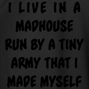 I live in a madhouse run by a tiny army  Mugs & Drinkware - Men's Football Jersey