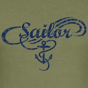 Sailor Waves Anchor Vintage Sail Design (Navy) Other - Men's Slim Fit T-Shirt