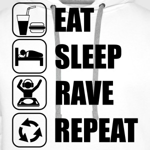 eat,sleep,rave,repeat,music - Premium hettegenser for menn