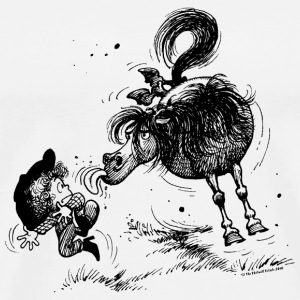 Thelwell 'Pony sticks out his tounge. Krus & tilbehør - Herre premium T-shirt