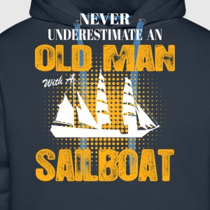 Never Underestimate An Old Man With A Sailboat T-Shirts - Men's Premium Hoodie