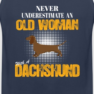 Never undrestimate an Old Woman Love Dachshund T-Shirts - Men's Premium Tank Top