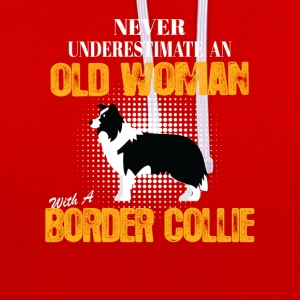 Old Woman With A Border Collie T-Shirts - Contrast Colour Hoodie