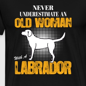 Old Woman With  A Labrador Long Sleeve Shirts - Men's Premium T-Shirt