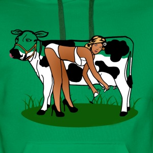 Cow Milking Dry T-Shirts - Men's Premium Hoodie