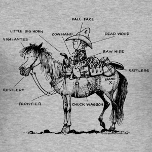 Thelwell Pony 'Western Riding school' - Men's Slim Fit T-Shirt
