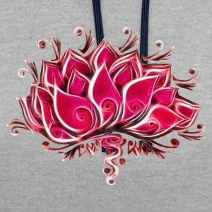 Lotus, Lotusblossom, Lotusflower, Flower, Yoga, OM - Contrast Colour Hoodie