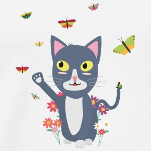 Cat with butterflies Hoodies & Sweatshirts - Men's Premium T-Shirt
