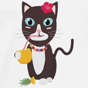 Hawaii katten med ananas Topper - Premium T-skjorte for menn