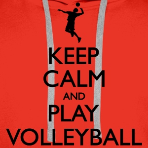 Keep Calm play Volleyball T-Shirts - Men's Premium Hoodie