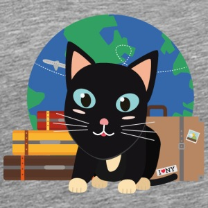 World Travel cat with suitcases Long Sleeve Shirts - Men's Premium T-Shirt