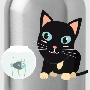Cat with fish Aquarium T-Shirts - Water Bottle