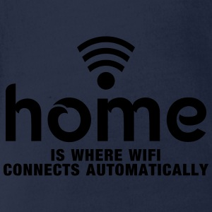home is where the wifi connects automatically Shirts - Baby bio-rompertje met korte mouwen