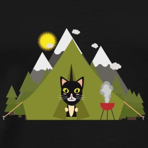 Cat in the camping tent Long Sleeve Shirts - Men's Premium T-Shirt