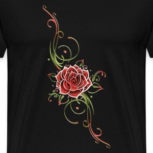 Filigranes Tribal mit Rosenblüte, rose Manches longues - T-shirt Premium Homme