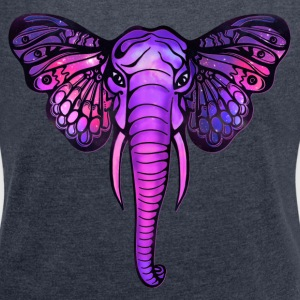 Space elephant, butterfly ears, galaxy, africa, Hoodies & Sweatshirts - Women's T-shirt with rolled up sleeves