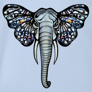 African elephant with butterfly ears, africa, art, Shirts - Organic Short-sleeved Baby Bodysuit
