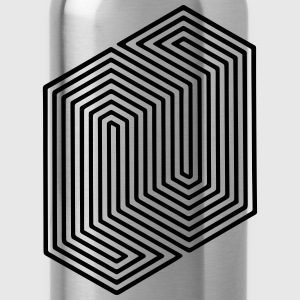 Optical Illusion (Impossible Minimal B & W Lines) Baby Bibs - Water Bottle