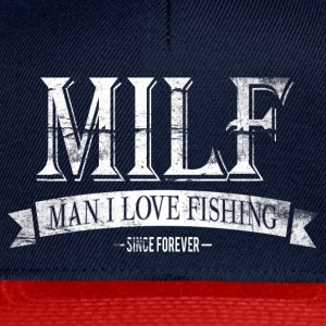 MILF / Man I Love Fishing / white grunge T-skjorter - Snapback-caps
