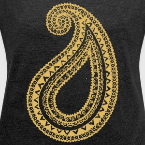 Golden print on dark grey Women's Boat Neck Long S - Women's T-shirt with rolled up sleeves