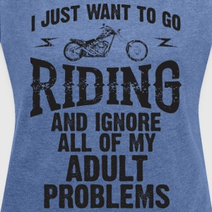 MOTOR RIDING WOMEN SWEATSHIRT - Women's T-shirt with rolled up sleeves