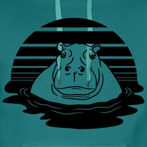 sun evening moon sunset hippopotamus thick water s T-Shirts - Men's Premium Hoodie