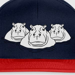 3 friends team group family hippopotamus thick wat T-Shirts - Snapback Cap