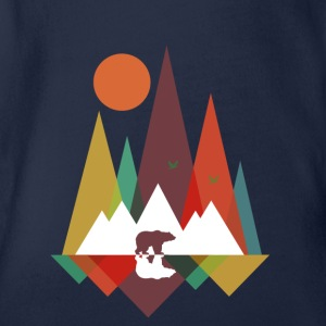 Navy Bear in the mountains Shirts - Organic Short-sleeved Baby Bodysuit