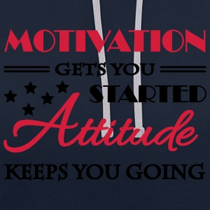 Motivation gets you started... Odzież sportowa - Bluza z kapturem z kontrastowymi elementami