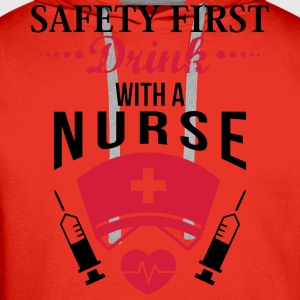 Safety first. Drink with a nurse T-Shirts - Men's Premium Hoodie