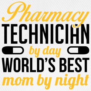 Pharmacy technician by day. Best mom by night T-shirts - Baseballkasket