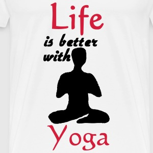 Life is better with Yoga Tops - Men's Premium T-Shirt