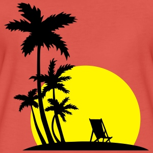 Paradise - Palm trees and sunset Topper - Premium T-skjorte for kvinner
