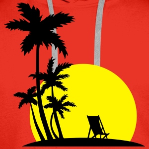 Paradise - Palm trees and sunset T-Shirts - Men's Premium Hoodie