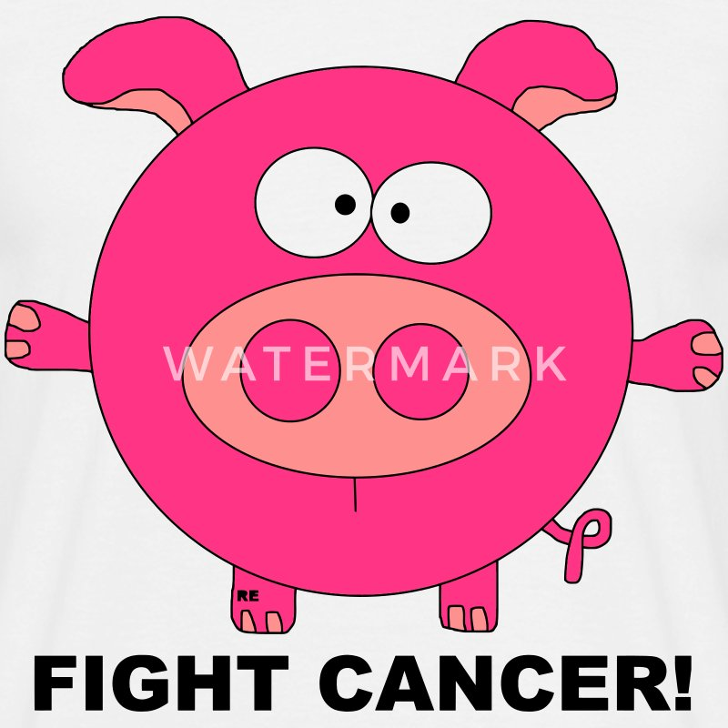 Fuck Fight Cancer Krebs Brustkrebs Schwein Pig T-shirts - T-shirt herr