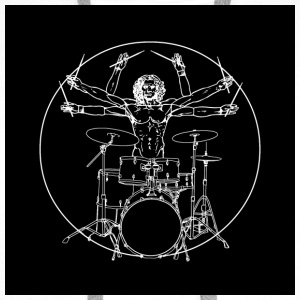Da Vinci Rocks drums (2) Badges - Sweat-shirt à capuche Premium pour hommes