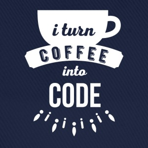 I turn coffee into code Programmers T Shirt Tops - Baseball Cap